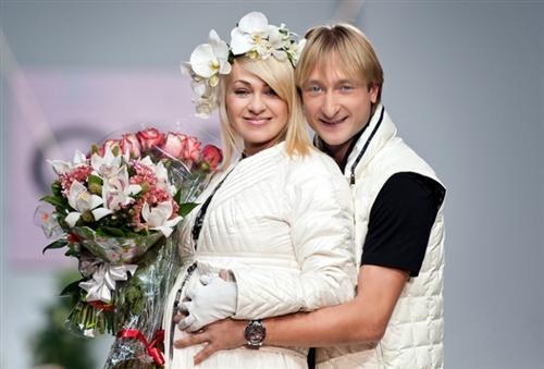 Беременная Яна Рудковская и Евгений Плющенко