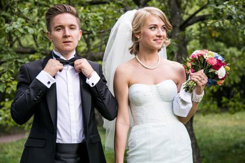 Денис Кукояка и его жена Елена Панарина (фото со свадьбы)