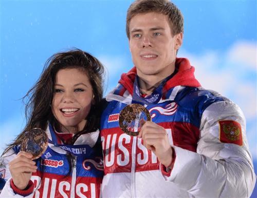 Никита Кацалапов и Елена Ильиных на Олимпиаде Сочи 2014